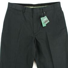 LL BEAN CLASSIC FIT BLACK DARK GREEN FLAT FRONT CHINOS PANTS MEN'S 36 X 28