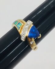 AMI 14k Yellow Gold Iolite Opal Inlay & Diamond Ring Size 6.5