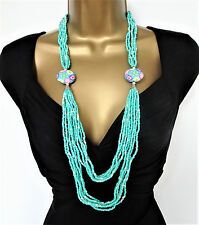 """Beautiful 34"""" Long Turquoise Beaded Layered Necklace with Fixed Flower Pendants"""