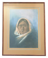"Original Pastel 1978 - Portrait of Zuni  Woman - Leslie De Mille or ""LAMB"" ???"