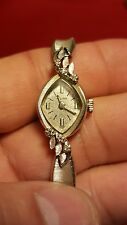Vintage Bulova 14k solid white gold Women's watch with diamonds, gf band