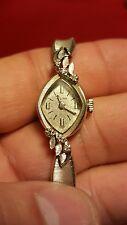 Vintage Bulova 14k solid white gold Women's watch with diamonds, gf band
