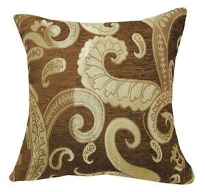 We601t Paisley Leaf Damask Chenille Sofa Seat 3D Box Shape Cushion Cover*Custom