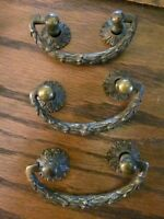 3 Vintage Antique Victorian Solid Brass Ornate Drawer Pulls old fancy Heavy