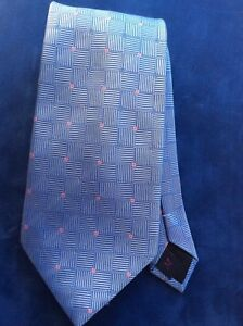 Mens Michelsons of London Tie 100% Heavy silk blue pink