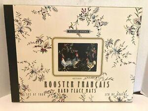 Williams Sonoma Hard Place Mats Rooster Francais Jeu De Quatre Set of 4  In Box