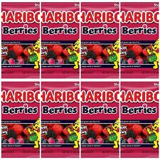 Haribo Gummi Candy, Berries, 5-Ounce Bags Red black Raspberries Lot (Pack of 8)