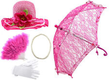Girls Tea Party Dress Up Set Hats Gloves Feather Fans Umbrella & Pearl Necklace