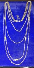 """SILVER MULTI CHAIN NECKLACE W/ CRYSTALS BEADS 18"""" DROP W/3"""" Extension"""