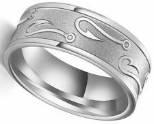 Engraved Fish Hook Carved Size 8 Silver Tungsten Stainless Steel Ring USA SELLER