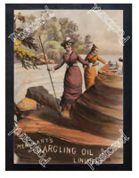 Historic Merchants Gargling Oil Liniment, c.1880 Advertising Postcard 1