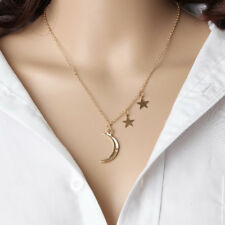 Moon Crescent Star Pendant Charm Gold Necklace Chain Women Trendy Jewelry C