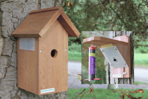 Camera Bird Box & Feeder | Garden Nest Wooden Hanging Birds Nesting Mic Wired UK