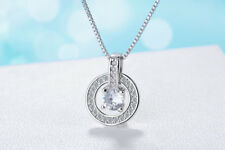 """Shiny 925 Sterling Silver Plt CZ Circle Loop Ring Pendant Necklace 17.7"""" Gift UK"""