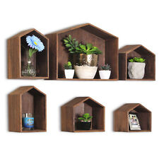 Wooden House-Shaped Wall Storage Shelf Hanging Rack, Set of 6