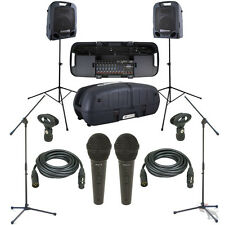 Peavey Escort 6000 Mixer 9-Ch Portable 600W Speaker System Mics Stands Cables