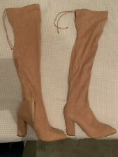 Asos nude suede thigh boots UK size 8 Brand New without box