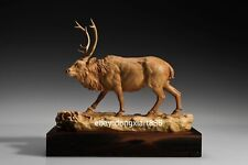 31 cm Chinese Boxwood Masterwork Animal wapiti elk Deer foraging wood sculpture
