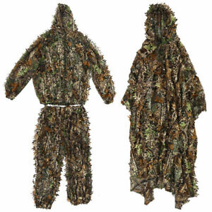 3D Leaf Sniper Ghillie Suit Woodland Camouflage Hunting Cloak Tactical Clothing