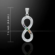 Infinity Symbol .925 Sterling Silver Pendant with Gemstones by Peter Stone