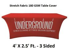 4ft. Custom Printed Stretch Table Cover 3 Sided Table Cloth for Tradeshow Expos