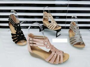 WOMENS STRAPPY GLADIATOR LADIES LOW HEEL WEDGE SUMMER SANDALS GIRLS SHOES SIZE