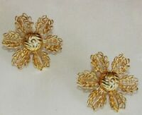"Vintage 1 1/4"" Large Gold Tone Ornate Filigree Flower Screw On Back Earrings"