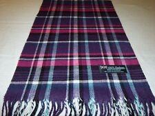 100% Cashmere Scarf Purple Blue Pink Scotland Wool Check Plaid Wrap Women K39