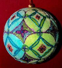 """Glamour Designer Jim Marvin Glitter Bead Tapestry 4"""" Ball Christmas Ornament New"""