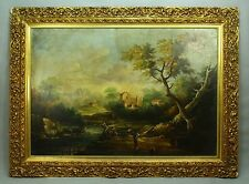 * 18th Cent. Continental School O/C Riverside Landscape Gilt Wood Frame