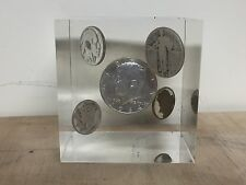 VINTAGE USA COIN SILVER KENNEDY MERCURY LIBERTY ETC LUCITE CUBE PAPERWEIGHT