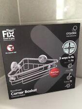 BNIB Croydex Brockham Flexi Fix Corner Basket Shower Caddy, 5 Year Rust Free