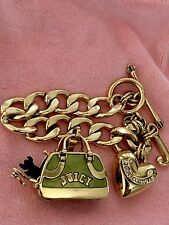 AUTHENTIC JUICY COUTURE Green Bag Carrier w/ Yorkie Charm & Starter Bracelet
