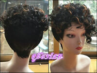 New! Ladies fashion Curly Black Brown mix Natural Hair Women's Wigs + wig cap
