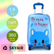 "SKYAIR Happy Blue Cat Kids Luggage Children Travel Suitcase 4 Spinner Wheels 18"""