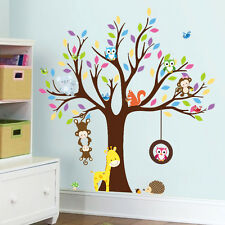 Zoo monkey bird kids room multicolor tree Owl Squirrel sticker wall decals decor