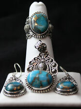 Mojave Blue Turquoise (Ovl) Ring Size 5, Earrings and Pendant w/out chain