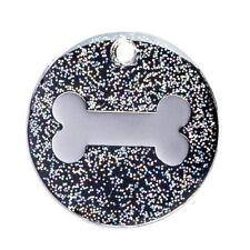 Médaille gravée pour Chien/Chat 25mm pailletée sur nickel avec motif d'os