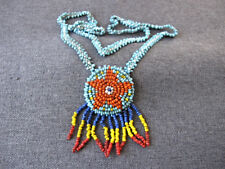 Vintage nice colors native american style beaded flowers necklace with fringe