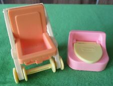 VINTAGE PLAYSKOOL DOLLHOUSE PINK BABY STROLLER & POTTY CHAIR