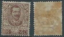 1901 REGNO FLOREALE 40 CENT GOMMA SCREPOLATA MNH ** - E113