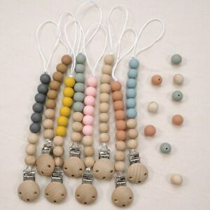 Safe Silicone Wood Beads Dummy Nipple Holder Baby Teething Pacifier Chain Clips