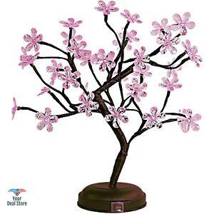 Cherry Blossom Tree Lamp LED Bonsai Christmas Desk Decor Crystal Flower Lights
