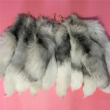 "20"" 50cm Long Real Natural White Cross Fox Tail White Black Fur tail Keyring"