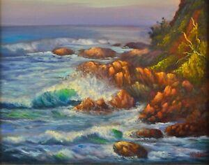 Original oil painting Australian breaking wave Coolum Beach QLD