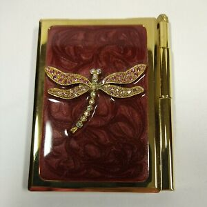 Spring Street Crystal Embellished Dragonfly Enameled Purse Notepad & Pen Compact