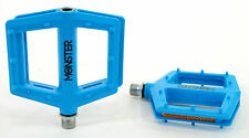 Redline Monster Bicycle Pedals Nylon Lo-Profile Platform BMX Bike, Blue