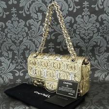 Rise-on Vintage CHANEL Gold Leather Double Flap Chain Shoulder Bag #1750