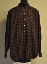 Ralph Lauren LS Button Front Shirt, Cotton, Burgundy/Green Plaid, 2XL  XXL