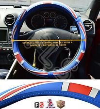 UNIVERSAL FAUX LEATHER STEERING WHEEL COVER BRITISH FLAG RED/BLUE-Rover